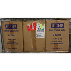LOT OF 3 BOX OF ULINE RECLOSABLE BAGS