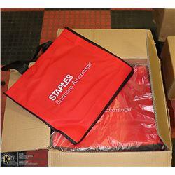CASE OF 100  STAPLES BRAND - RED/BLACK SHOPPING
