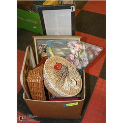 BOX OF ASSORTED PICTURE FRAMES, WICKER BASKET AND
