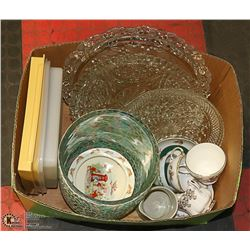 BOX OF ASSORTED GLASSSWARES INCLUDING ROYAL ALBERT