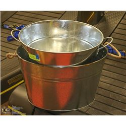 2 MULTI USE METAL TUBS FOR STORAGE,COLD DRINKS ETC