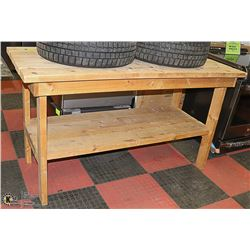 """SOLID WOOD WORK BENCH- 64""""L X 28""""W X 36""""H"""