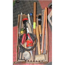 BOX OF MISC LANDSCAPING TOOLS