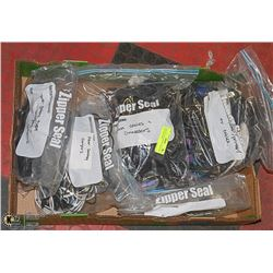 BOX FULL OF VARIOUS CHARGERS AND ADAPTERS