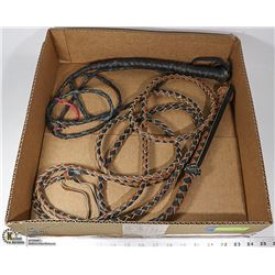 TWO LEATHER  BULLWHIPS.