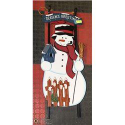 SOLID WOOD 3 FOOT TALL SNOWMAN