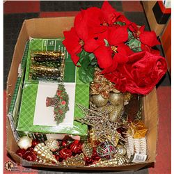 LARGE BOX OF CHRISTMAS ITEMS INCL. TREE