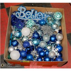 LARGE BOX FULL OF BLUE, SILVER & WHITE