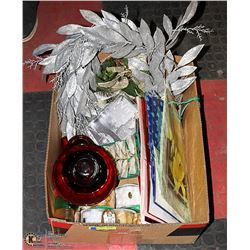 BOX W/NEW CHRISTMAS SUPPLIES INCL. SILVER