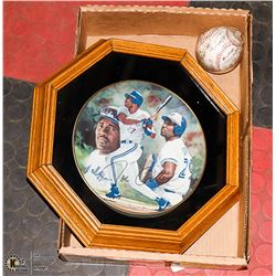 FRAMED BLUE JAY COLLECTOR PLATE WITH SIGNED TEAM
