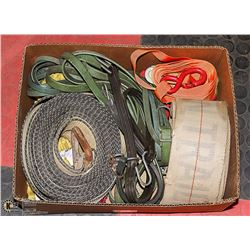 BOX FULL OF TIE-DOWN AND BUNGEE STRAPS