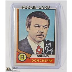 AUTOGRAPHED DON CHERRY 1974 OPC ROOKIE CARD BRUINS