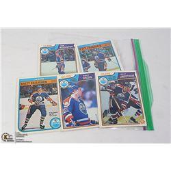 LOT OF FIVE 1980s OILERS HOCKEY CARDS: BRETT