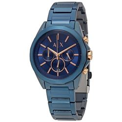 NEW ARMANI EXCHANGE 44MM BLUE ION PLATED MSRP $276