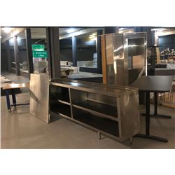 Stainless Steel Serving Counter with Storage, Small Exhaust Canopy, 2 Desks