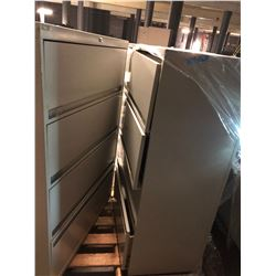 2 White Steel 4 Drawer Cabinets