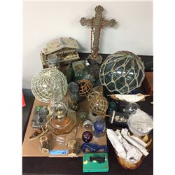 Assorted Japanese Glass Fishing Floats, Oil Lamps and Misc