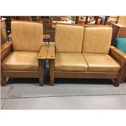 Retro Wood and Leather Loveseat and Chair