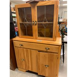 Leaded glass maple china cabinet