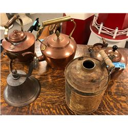 Copper Kettles, Old Jug and Brass bell