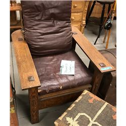 Antique wood and leather recliner with stitched Ottoman