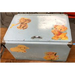 AntiqueMetal Kids Toy Box with toys inside