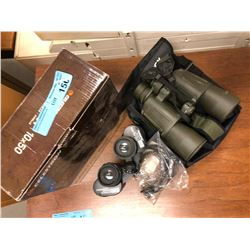 3 set of Binoculars, 3 misc watches and flight pins