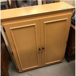 2 door cabinet with metal rack