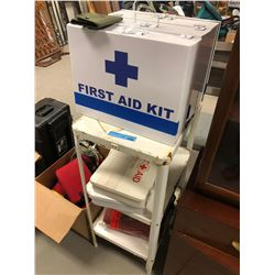 One lot of misc Medical Kits, Supplies, Oxygen Tank