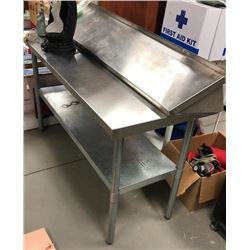 One Stainless Steel Restaurant Grade Counter with Shelf