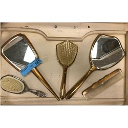Retro 2 Hand mirrors, 2 Hair Brushes and 1 comb Set