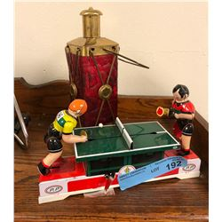 Retro Tin Toy Ping pong set and glass lamp