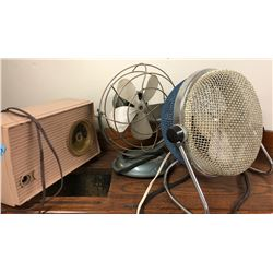 2 retro Fans and 1 RCA Victor Clock Radio