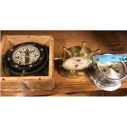 1 water balance compass, 1 barometer and 1 clock (Marine)