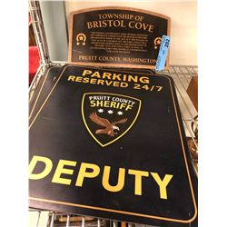 Police Badges, Crest and pins mounted with 3 sheriff signs - Movie Prop