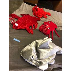 3 red lobster and 1 silver shark toy