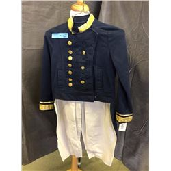 Dark blue with gold collar and buttons band costumes