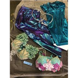 2 mermaid costumes with green tops and blue fish tail skirt