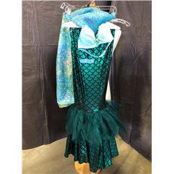 blue and dark green mermaid costume with fish tail skirt
