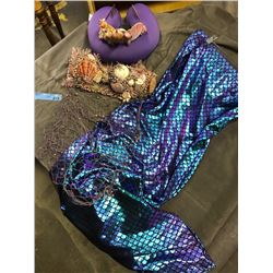 Mermaid costume (purple) with seashell crown and a bra with net