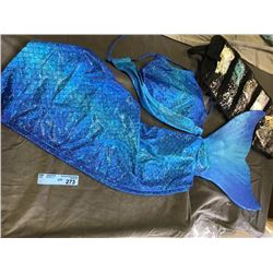 Mermaid Costume with blue top, blue skirt and blue fin (also has beads)
