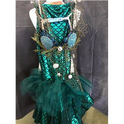 green mermaid costumes with sea shell and fishing net bra