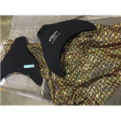 Golden mermaid costumes with 2 black fins