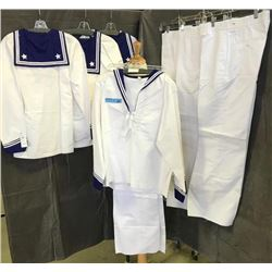 multiple blue and white sailor costumes