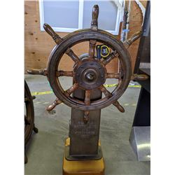 Authentic Metal and Wooden Ship Steering Wheel