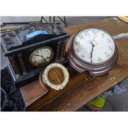 2 Mantol Clocks and 1 Wall Clock