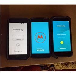 1 LG Android Smartphone. 1 Motorola Android Smartphone, 1 Polaroid Smartphone