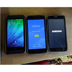 1 Samsung Android Smartphone, 1 Motorola Android Smartphone, 1 HTC Android Smartphone