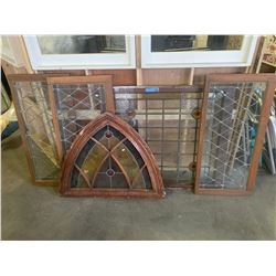 5 Leaded Glass Windows and 1 glass Massage Sign