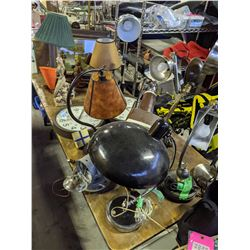 Table lot of vintage lamps, clocks and much more